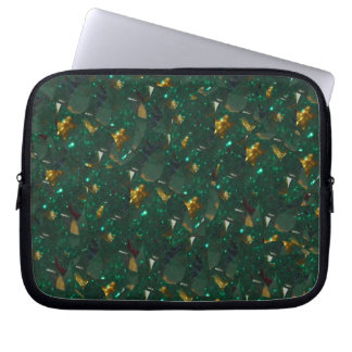 Gold Speckled Green Electronics Bag Laptop Computer Sleeves