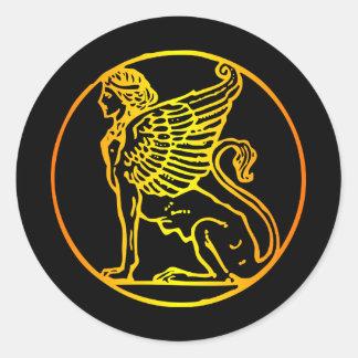 Gold Sphinx Classic Round Sticker