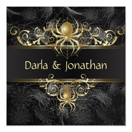 Gold Spider Web Swirls Save The Date Card