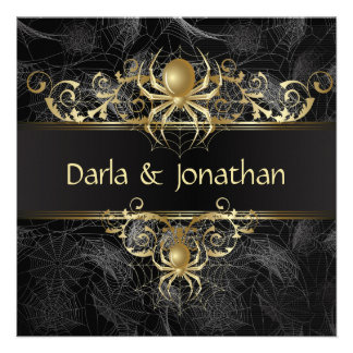 Gold Spider Web Swirls Save The Date Personalized Invitation