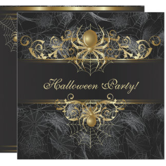 Gold Spiders Halloween Party Card