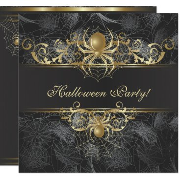 Halloween Themed Gold Spiders Halloween Party Card