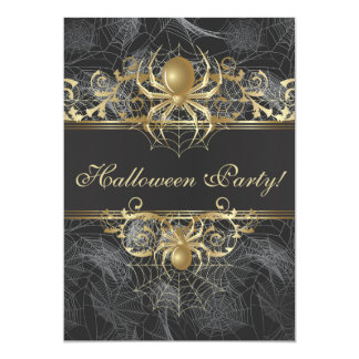 Gold Spiders Halloween Party - Halloween Wedding Card