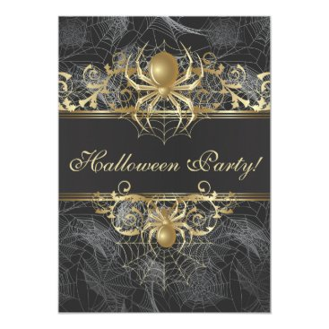 Halloween Themed Gold Spiders Halloween Party - Halloween Wedding Card