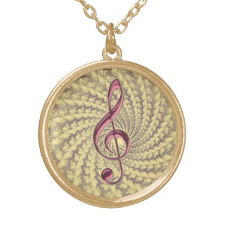 Gold Spiral Music Pink Treble Clef Necklace