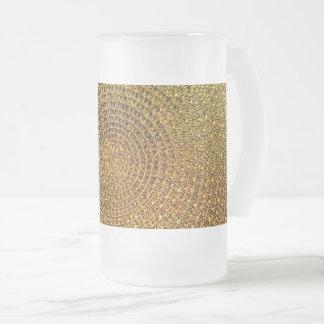 Gold Spiral Pattern Frosted Glass Beer Mug