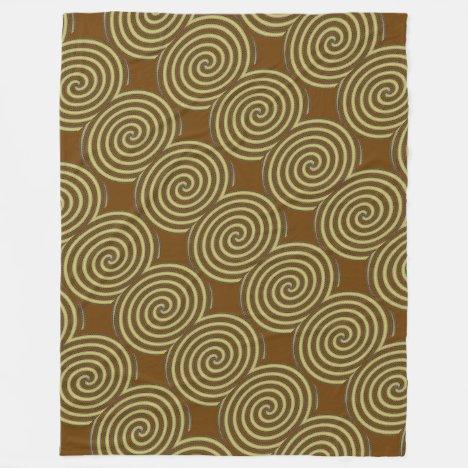 Gold Spirals Fleece Blanket