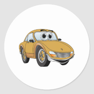 Gold Sport Car Cartoon Classic Round Sticker