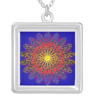 Gold Spot Sun Pattern  JAN 03 2011 MON Square Pendant Necklace