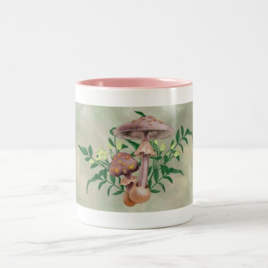 Gold Spotted Mushrooms, Star Flowers Drinkware Two-Tone Coffee Mug