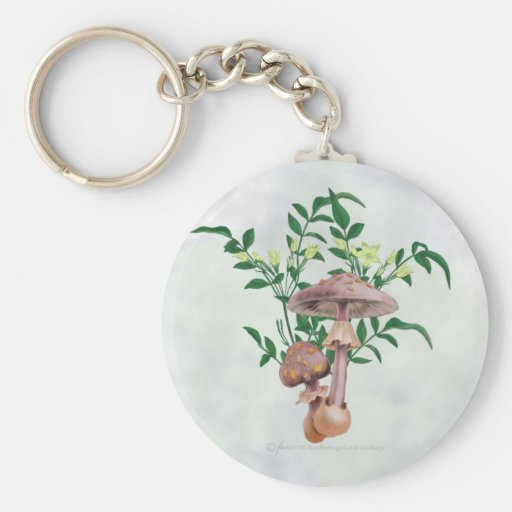 Gold Spotted Mushrooms, Star Flowers Keychain