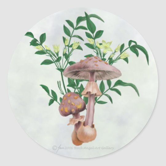 Gold Spotted Mushrooms, Star Flowers Stickers