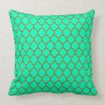 Gold Spring Green Quatrefoil Pillow