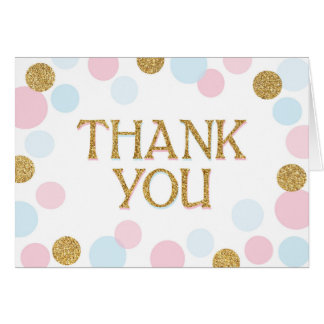 Gold Sprinkles Scatter Dots Thank You Card