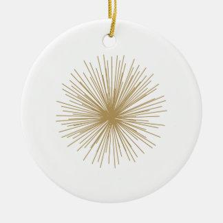 Gold Sputnik Starburst Ceramic Ornament