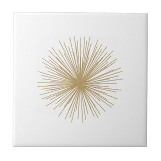 Gold Sputnik Starburst Ceramic Tile