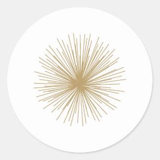 Gold Sputnik Starburst Classic Round Sticker