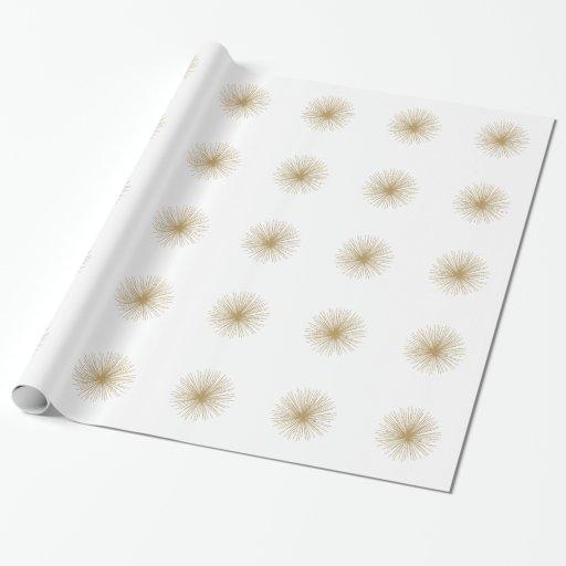 Gold Sputnik Starburst Wrapping Paper