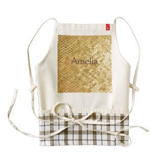 gold,square,pattern,golden,trendy,modern,chic,fun, zazzle HEART apron