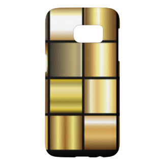 Gold Square Pattern Print Collage Samsung Galaxy S7 Case