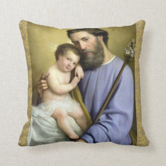 Gold St. Joseph Foster Father & Baby Jesus Pillow