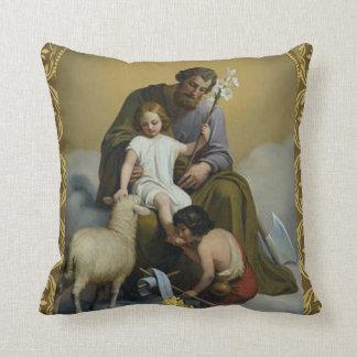 Gold St. Joseph, Jesus & John the Baptist Throw Pillow