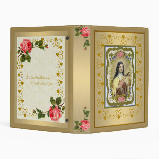 """Gold St. Therese of Lisieux Mini 1"""" Binder w/quote"""