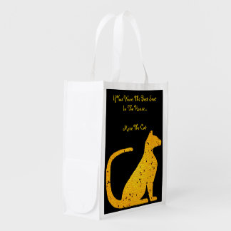 Gold Stained Glass Cat CrystalKatz Totes Reusable Grocery Bag