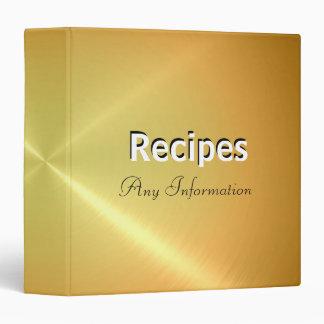 Gold stainless metallic | Recipes binders