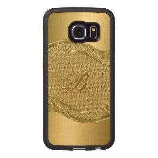 Gold Stainless Steel & Diamonds Pattern Print Wood Phone Case