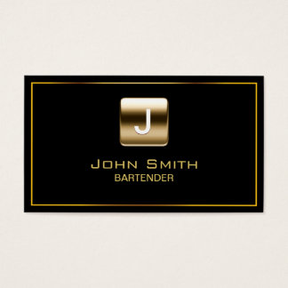 Gold Stamp Bartender Dark Business Card