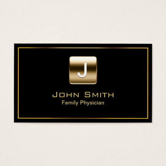Gold Stamp Family Physician Dark Business Card