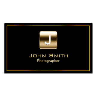 Gold Stamp Photographer Dark Business Card