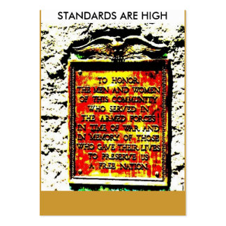 GOLD, STANDARDS ARE HIGH LARGE BUSINESS CARDS (Pack OF 100)