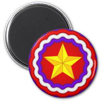 Gold Star 2 Inch Round Magnet