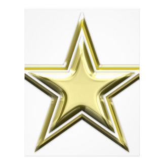 Gold Star 2 Layer Golden Stars Letterhead