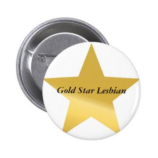 gold-star-2, lesbiana de la estrella del oro pin redondo de 2 pulgadas