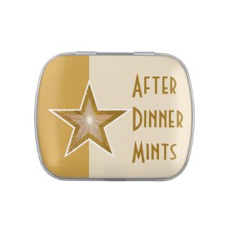 """Gold"" Star 'After Dinner Mints' yellow two tone Candy Tins"