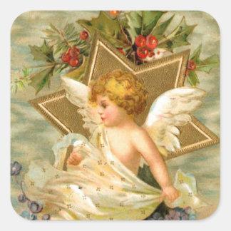 Gold star angel square sticker