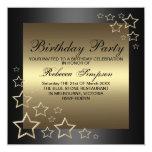 "Gold Star Birthday Invitation 5.25"" Square Invitation Card"
