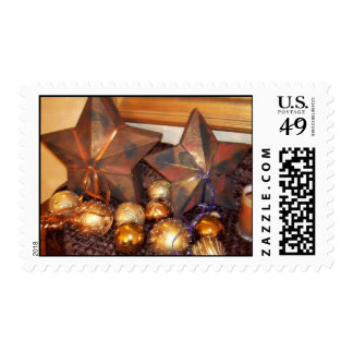 gold star box and ornaments postage stamp