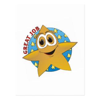 Gold Star Cartoon Postcard