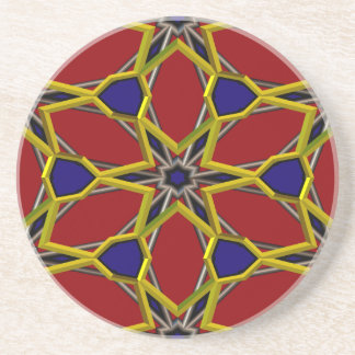 Gold Star Centered on Red Pattern Drink Coaster