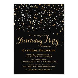 """Gold Star Confetti Birthday Party Invitation 5"""" X 7"""" Invitation Card"""