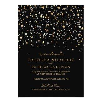 Gold Star Confetti Modern Wedding Invitation