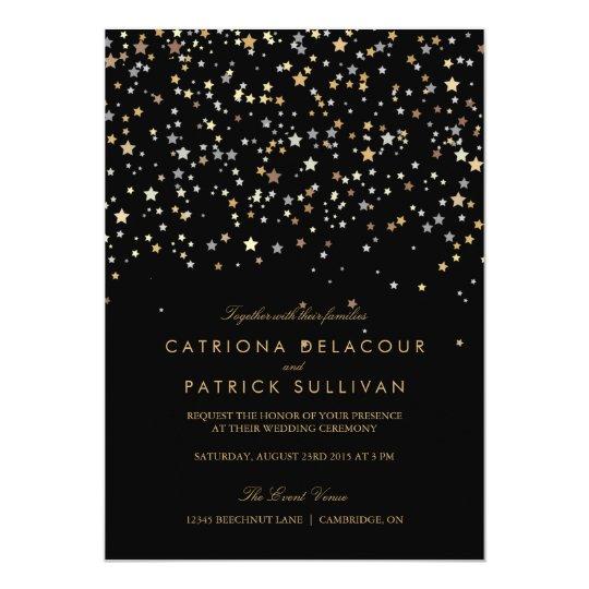 gold star confetti modern wedding invitation - Modern Wedding Invitation