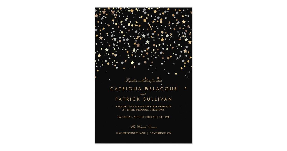 Gold Star Confetti Modern Wedding Invitation   Zazzle.com