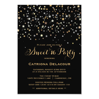 Gold Star Confetti Sweet Sixteen Party Invitation