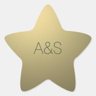 Gold Star Corporate Business Holiday Monogram Star Sticker