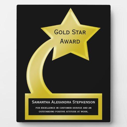 Gold Star Custom Personalized Award Plaque | Zazzle